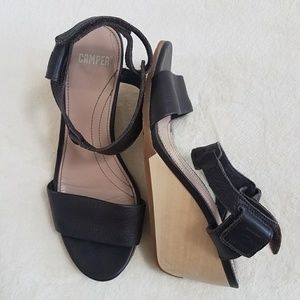Camper Brown Leather Ankle Strap Wedge Sandals